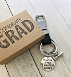 Black Leather Masters Degree Gift 'Trust me I Have a Masters Degree' Graduation Key Chain with Gift...