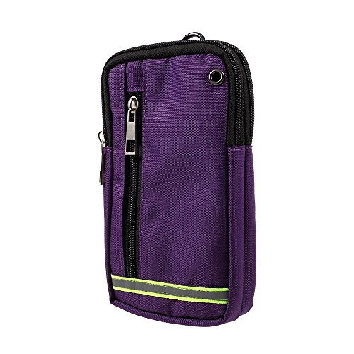 DFV mobile - Multipurpose Reflective Universal Belt Case with 3 Compartments for MEIZU Pro 5 Ubuntu Edition - Purple (17 x 10 cm)