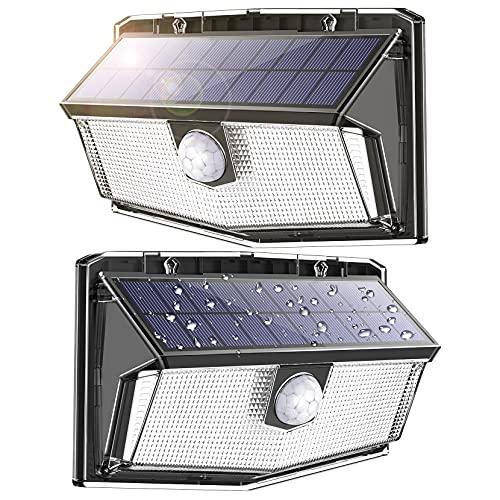 Mejorada 300 LEDS Luz Solar Exterior Focos Led Exterior Solares Apliques de Pared con Sensor de Movimiento Iluminacion Lámpara Solar Exterior Jardin Luz,3 modos [2500mah] IP67 a prueba de agua