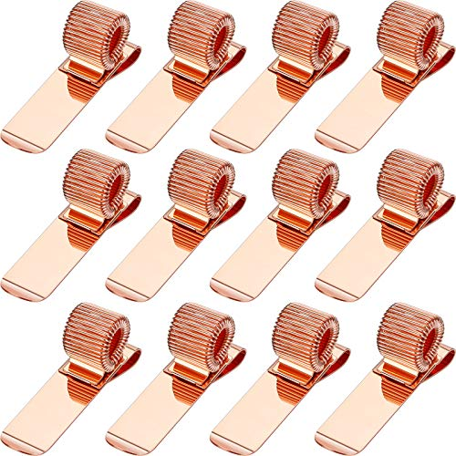 12 Pieces Pen Clipboard Holder Pen Clipboard Holder Manganese Steel Pen Clip Organizer for Notebook and Clipboard in Home, Office, Pocket (Rose Gold)