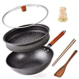 Woks and Stir Fry Pans With Lid,Wok Pan with Steam Rack&Lid for Gas Stoves and Induction,Wok Set with Spatulas,Chopsticks,Bamboo Pot Brush