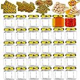 30PCS 1.5oz Glass Mini Honey Jars Gold...