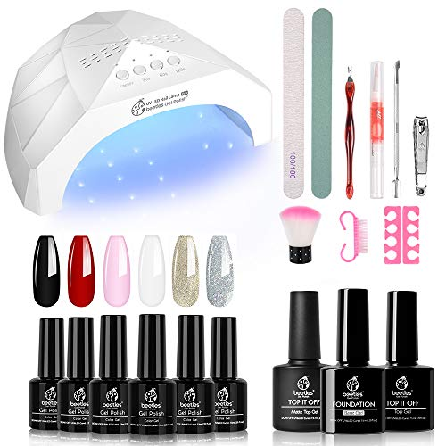 Beetles Gel Nail Polish Starter Kit with UV Light 48W LED Nail Lamp 6 Colors Gel Polish Set with Black Red White 75ml Gel Base Top Coat Professional Manicure Tool Nail Kit for Salon or DIY Home