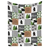Bear Forest Quilt Personalized Receiving Baby Blankets for Girls Boys Kids with Name,Customized Swaddle Blankets Gift for Newborn Crib Infants 30x40 Inches