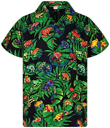 V.H.O. Funky Hawaiian Shirt, Rainforest Frogs, Black, 3XL