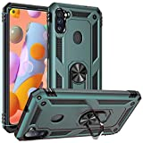 Samsung A11 Case,Galaxy A11 Case,PUSHIMEI Military Grade Heavy Duty Armor Protection Phone Case Cover with HD Screen Protector Magnetic Ring Kickstand for Samsung Galaxy A11 (Dark Green)