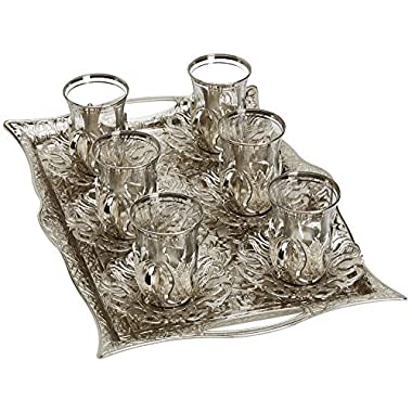Turkish Tea Set for 6 - Glasses with Brass Holders Lids Saucers Tray & Glass Spoons,25 Pcs (Silver)