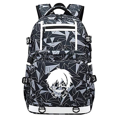 ZZGOO-LL Tokyo Ghoul Kaneki Ken Mochila de Anime Mochila de Escuela Secundaria para Estudiantes para Mujeres/Hombres con USB Starry Sky-D