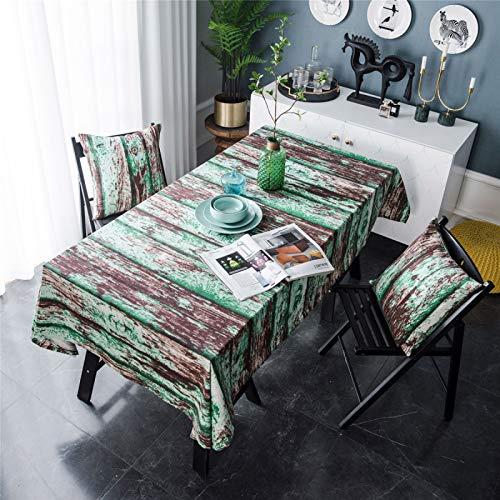 CCBAO Rectangular Verde Madera Raya De Impresión Hogar Hotel Mantel Mantel Mantel De Café Raya Cuadrada Mantel 140x200cm