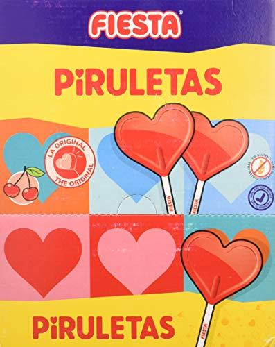 FIESTA Piruletas Caramelo con Palo en Forma de Corazón Sabor Cereza - Caja de 80 unidades