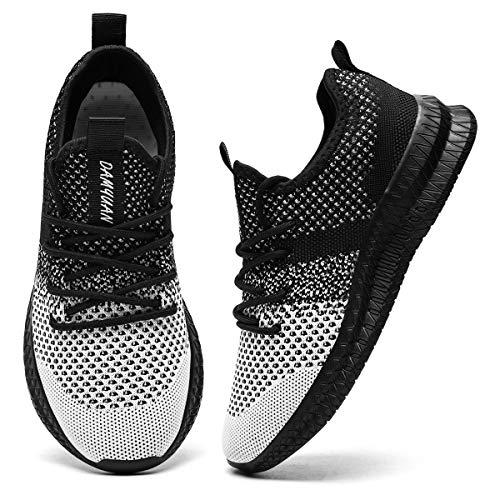 CAIQDM Zapatillas deportivas para hombre, para correr, para exteriores, transpirables, para correr, caminar, para el tiempo libre, fitness, etc., Negro , 43 EU