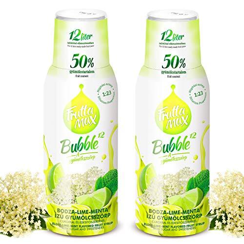 Frutta Max Getränkesirup Frucht-sirup Konzentrat   Holunderblüte-Limette-Minze Geschmack   weniger Zucker   mit 50{4170d067dd82c2e1e09943c4513479940b0e66d1a8c7ceff4b91f3b55450561b} Fruchtanteil   für Soda Maschine geeignet 2erPack(2x500ml)