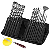 Paint Brushes Set OMITIUM Artist Oil Paint Brushes 15Pcs Different Shapes & Sizes for Acrylic Watercolor Oil Creative Body Paint with Portable Carrying Case,Palette Knife and Sponge