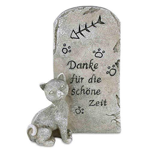 kruzifix24 Devotionalien Katzen Grabstein Tiergrabstein Kätzchen mit Spruch Danke für die schöne Zeit Polyresin Gedenkstein 15 x 7 x 19 cm Tiergrab Grabschmuck Kunststein