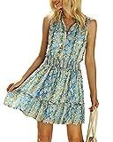 Chuanqi Womens Summer V Neck Snake Print Sleeveless Elastic High Waist Beach Party Mini Short Dress Blue