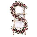 VINFUTUR 5×250cm Künstliche Blumengirlande Rosen Künstliche Rosengirlande Hängende Rose Vine für Hochzeit Home Garten Deko