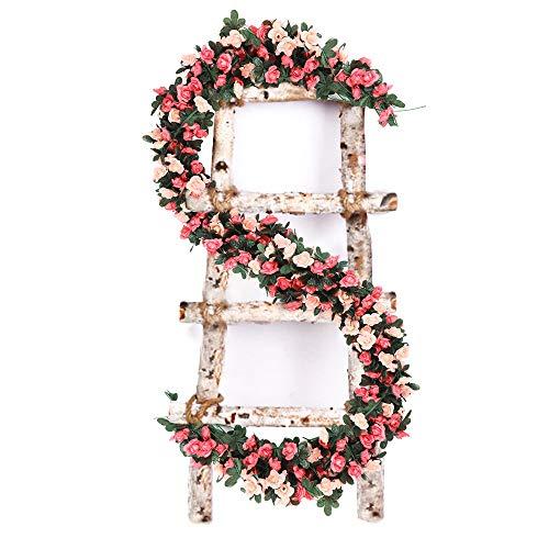 VINFUTUR 5pcs×2.5m Flores Artificiales Rosas Colgantes, Guirnalda Flores Artificial Enredadera Vid de Rosas Falsas Colgantes Plantas para Decoración Boda Exterior Interior Hogar