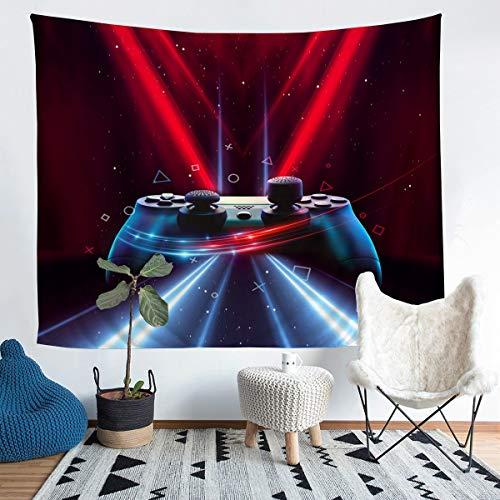 Tapiz para colgar en la pared de juegos para niños, adolescentes, videojuegos, geométricos, con purpurina, decoración para juegos de pared para dormitorio, sala de estar, tamaño mediano, 128 x 122 cm
