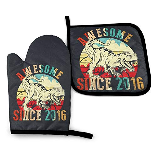 Awesome Since 2016 1 Heat Resistant Oven Mitts and Pot Holders Set for Kitchen Baking BBQ, for Men Women Children Kids