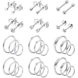 Jstyle 30Pcs Stainless Steel Cartilage Earrings Hoops for Men Women Tiny Stud Earrings Ball CZ Tragus Conch Helix...