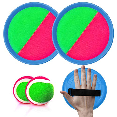 LamourLove Toss Balls and Catch Game, Paddle Toss and Catch Ball Set, Sticky Ball Set, Paddle Ball Catch Set, Sticky Balls for Kids Beach Paddle Ball Game Toys with 2 Paddles 2 Balls