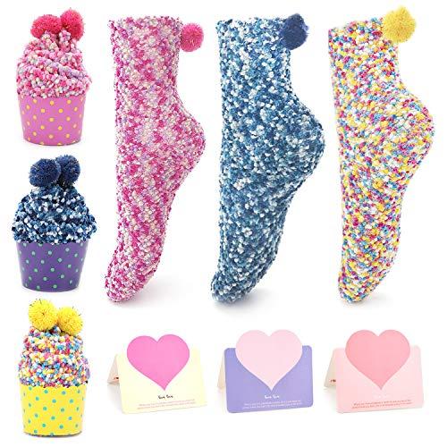 QKURT 3pcs Lustige Kuchen Socken, Cupcakes Design Mädchen Socken Weihnachtssocken mit box 3pcs Geschenkkarten
