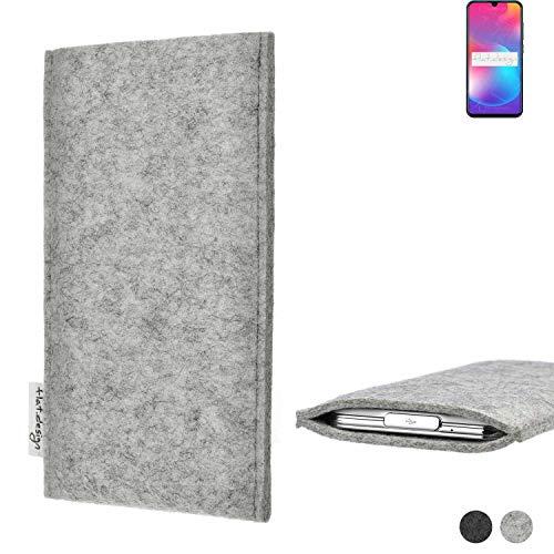 flat.design Handy Hülle Porto für Coolpad Cool 9 maßgefertigte Handytasche Filz Tasche Schutz Hülle fair grau