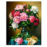 SuperDecor Paint by Number for Adults DIY Oil Painting Kit Multicolor Flowers in Vase Home Wall Decor 16x20 Inch