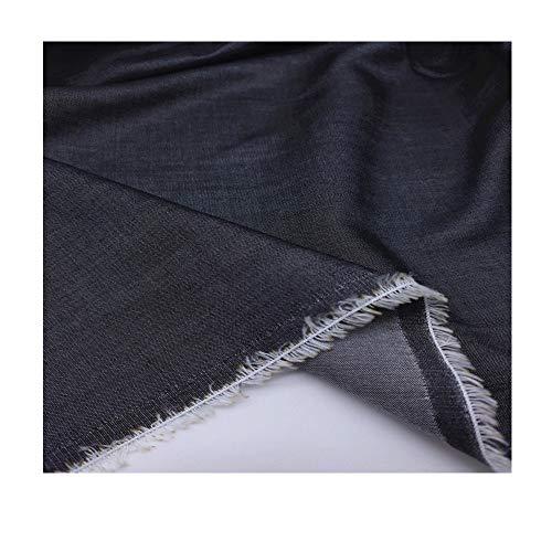 Hoogwaardige Tencel denimstof gewassen katoen stretch zomer dunne sectie broek wijde pijpen broek 155 cm breed verkocht per meter (Color : Black and gray)