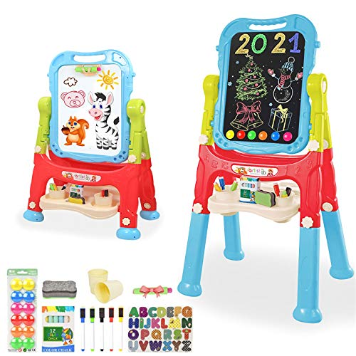 Mojitodon Easel for Kids,Rotatable Double Sided Easel for Kids Adjustable Standing Art Easel with Painting Accessories for Toddlers Boys and Girls-Blue
