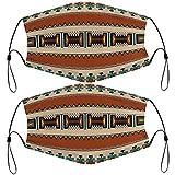 2 máscaras faciales reutilizables y lavables con cordones ajustables y 4 filtros pasamontañas faciales para adultos, diseño Pueblo de Nuevo México