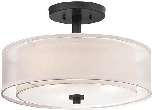 """wholesale Minka Lavery 4107-66 Parsons Studio Translucent new arrival Silver Linen Drum Semi Flush Ceiling Light, 3-Light 180 outlet online sale Total Watts, 10""""H x 15""""W, Sand Coal online sale"""