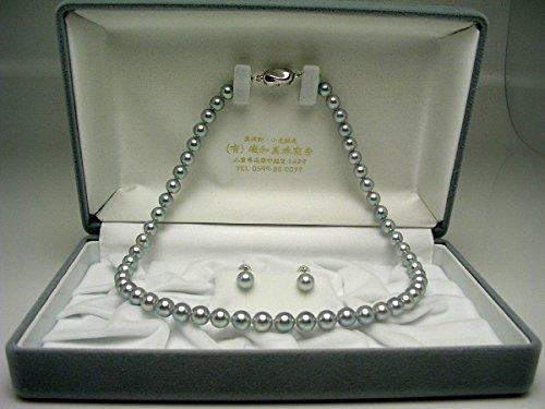 IsowaPearl(伊勢志摩の真珠専門店イソワパール)アコヤ真珠ネックレスピアスセット7.0-7.5mmシルバーブルーシルバークラスップ64702