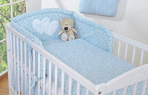 Housses de couette et d'oreiller pour lit bébé 120x60 - liberty bleu et vert - Fabrication européenne