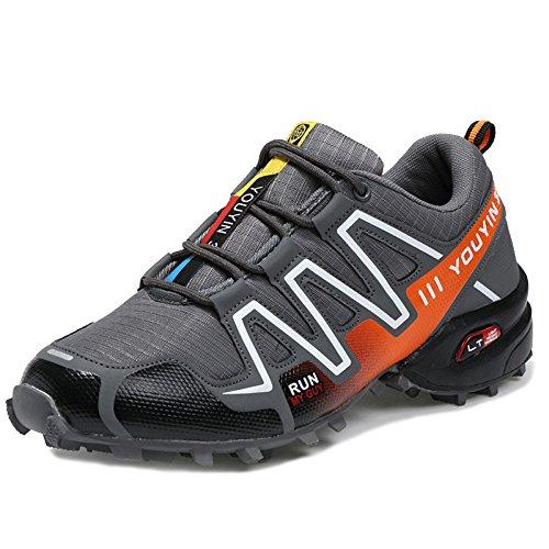 MERRYHE Baskets pour Hommes Chaussures De Sport en Plein Air Randonnée Trekking Chaussures Montagne Escalade Chaussure Sneakers pour Voyage,Orange-45
