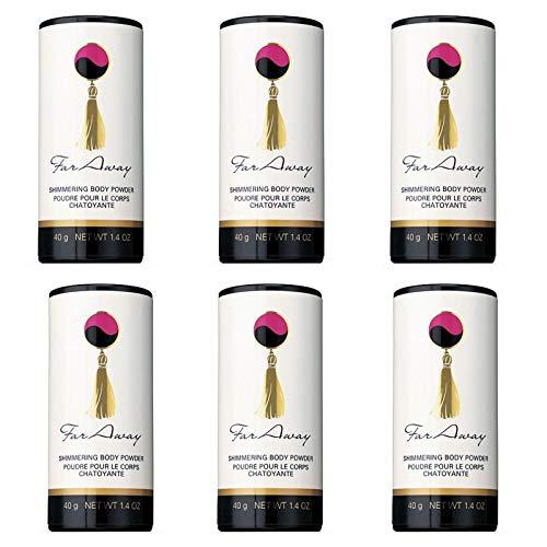 6 x Avon Far Away Polvos de Talco Perfumados y Brillantes 40g cada uno