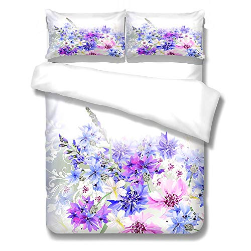 Duvet Cover Set with 2 Pillowcases Ultra Soft Microfiber Bedding Quilt Cover Sets Adults Teenagers - Flower(King 230X220cm)