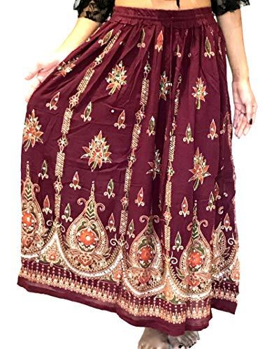 Falda larga de verano para mujer, estilo indio, estilo hippie y gitano, de verano, con lentejuelas, talla M, L