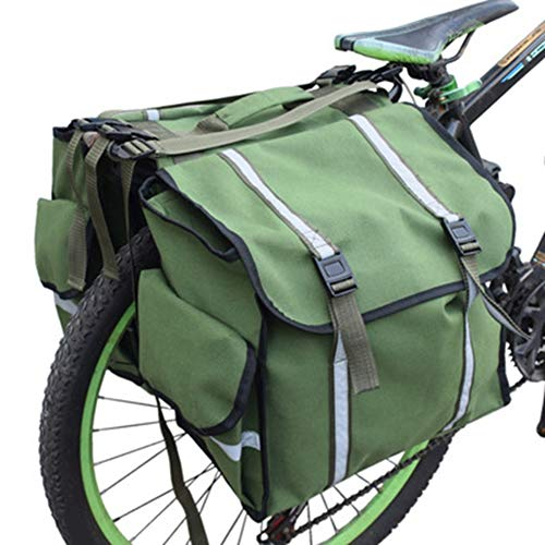 Yasashi Bicycle Bag Waterproof Waxed Canvas Bicycle Rear Seat Carrier Bag Cycling Panniers Saddle Bag with Reflective Trim