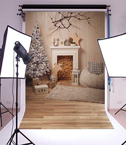 YongFoto 1x1,5m Foto Hintergrund Weihnachtsbaum Kamin Kaminholz Sofa Teppich GIFS Laterne Alter Baum Zweig Wood Plank Interior Fotografie Hintergrund Fotoshooting Portrait Party Kinder Fotostudio