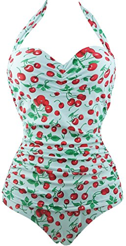 TDOLAH Bikini Push Up gepolstert Tankini Retro bedruckt Große Größe Badeanzug Damen 1Stück mit Dekoration kirschrot Gr. L,  - Blanc-3
