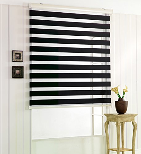 サイズ オーダーメイド, [Winsharp Woodlook 240, Black, W 170 x H 180 (CM)] 調光ロールアップ スクリーン 窓 ブラインド & カーテン 簾 ウッドルック