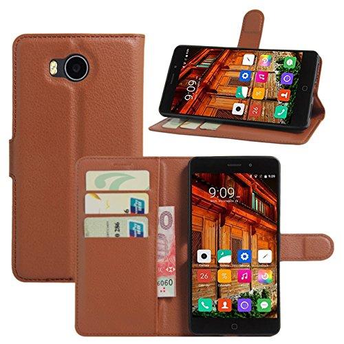 HualuBro Elephone P9000 Lite Hülle, Premium PU Leder Leather Wallet HandyHülle Tasche Schutzhülle Flip Hülle Cover mit Karten Slot für Elephone P9000 Lite Smartphone (Braun)