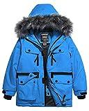 Wantdo Boy's Waterproof Thicken Parka Windproof Warm Winter Coat Blue 14/16