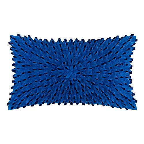 King Rose - Fundas de cojín decorativas hechas a mano, diseño de flores en 3D, de lana maciza, para sofá, silla, 30,5 x 50,8 cm, color azul