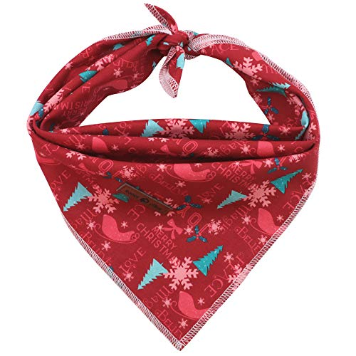 Lionet Paws Christmas Dog Bandana for Small Medium Large Dogs, Cat Dog Kerchief Dog Triangle Bibs Scarf for Girl or Boy