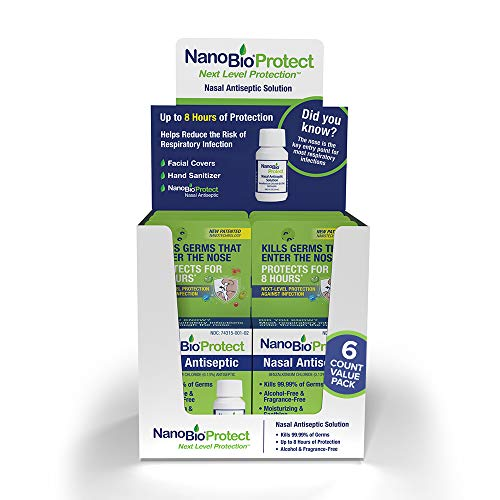 NanoBio Protect Nasal Antiseptic 6pk   Helps Reduce Risk of Respiratory Infection   8 Hour Protection   Safe for Kids, Daily Use   40+ Uses   FSA/HSA Eligible