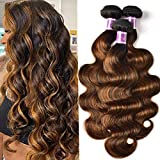 UNICE Brown Highlight Body Wave Human Hair Weave 3 Bundles 16 18 20 inch, Brazilian Remy Hair Ombre Blonde Human Hair Wavy Weaves Sew in Piano Color TFB30