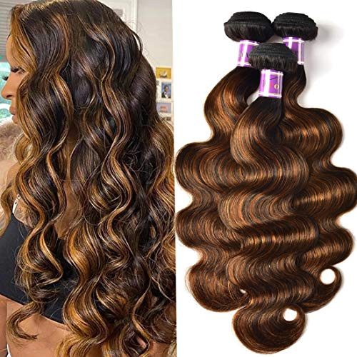 UNice Brown Highlight Body Wave Human Hair Weave 3 Bundles 14 16 18 inch, Brazilian Remy Hair Ombre Blonde Human Hair Wavy Weaves Sew in Piano Color TFB30