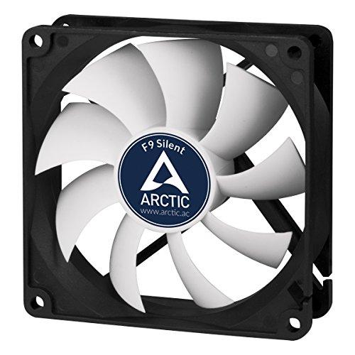 ARCTIC F9 Silent - 92 mm, Ventilateur Haute Performance, Ventilateur Boitier, Refroidisseur Silencieux pour Unité Centrale, Niveau Sonore Ultra Bas 0,08 Sone, 1000 RPM - Noir/Blanc